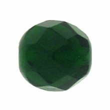 8mm Dark Emerald Czech Fire Polished Round Glass Beads  (25PK)