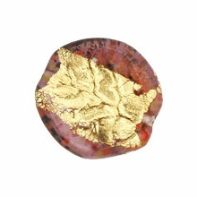 Czech Gold Foil Leaves 25/24mm Amethyst (1pc)