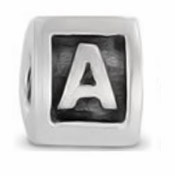 8mm Letter Beads Silver Plated Large Hole A (1PC)