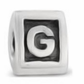 8mm Letter Beads Silver Plated Large Hole G (1PC)