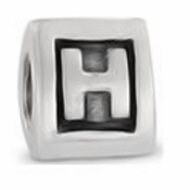 8mm Letter Beads Silver Plated Large Hole H (1PC)