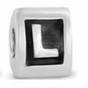8mm Letter Beads Silver Plated Large Hole L (1PC)