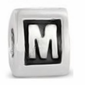 8mm Letter Beads Silver Plated Large Hole M (1PC)
