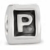 8mm Letter Beads Silver Plated Large Hole P (1PC)