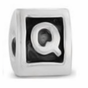 8mm Letter Beads Silver Plated Large Hole Q (1PC)
