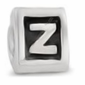 8mm Letter Beads Silver Plated Large Hole Z (1PC)