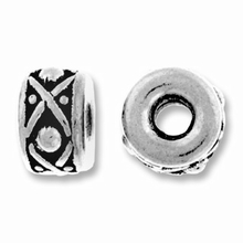 Antique Silver 8mm Lg. Hole Legend Spacer Bead
