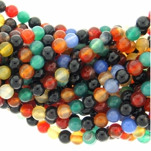 8mm Multicolor Round Agate Beads 15 Strand