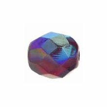 8mm Ruby AB Czech Fire Polished Round Glass Beads (25PK)