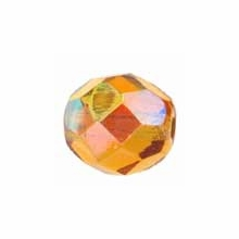 8mm Topaz AB Czech Fire Polished Round Glass Beads (25PK)