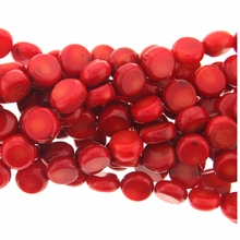 Red Coral Disk Beads 16 inch Strand