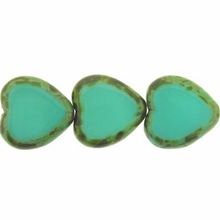 Opaque Turquoise – Picasso 15/15mm Heart Window Beads   (6PK)