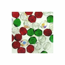 Czech Fire Polished Round 8mm Christmas Mix (25PK)