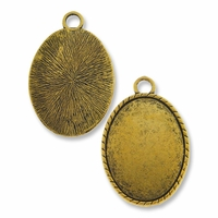 Antiqued Gold Plated 44x34mm Oval Pendant Cabochon Settings (1PC)