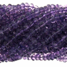 Amethyst Faceted Button 5x3mm 15 inch Beads Strand