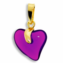 Amethyst Gold Pendent Heart 15mm (1PC)