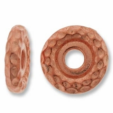 Antique Copper 10mm Hammertone LH Spacer Bead