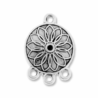 Antiqued Silver 1-3 Round Floral 20x15mm Link (10PK)