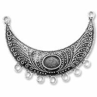 Antiqued Silver 2-7 Crescent 40x52mm Link (1PC)