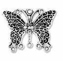 Antiqued Silver 1-5 Butterfly 27x33mm Link (4PK)