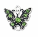 Silver Plated 17mm Peridot Rhinestone Butterfly Link (1PC)