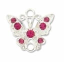 Silver Plated 17mm Rose Rhinestone Butterfly Link (1PC)