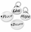 Silver Finish Pewter Message Beads & Charms