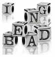 Silver Finish Pewter Block Alphabet Beads