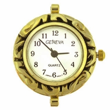 Gold Tone Decorative Round Watch Face