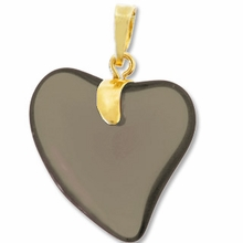 Black Diamond Gold Pendent Heart 24mm (1PC)