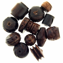 Dark Brown Carved Wood Bead Mix (10PK)
