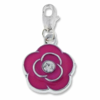 Silver Plated Pink Enamel Crystal Flower Charm (1PC)