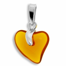 Topaz Silver Pendent Heart 15mm (1PC)