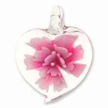 Glass Pendant Heart Pink Flower (1pc)