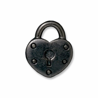 Black Finish Heart Lock Charm