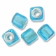 MIOVI™ Lampwork Large Hole Beads w/SP Grommets 14x14mm Silver Foil Light BlueDesign (5PK)