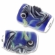 MIOVI™ Lampwork Large Hole Beads w/SP Grommets 18x13mm Blue/Black Seahorse Design (1PC)