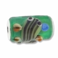MIOVI™ Lampwork Large Hole Beads w/SP Grommets 18x13mm  Green/Lt Green Fish Design (1PC)