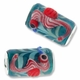MIOVI™ Lampwork Large Hole Beads w/SP Grommets 18x13mm Teal/Red Seahorse Design (1PC)