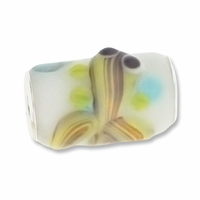 MIOVI™ Lampwork Large Hole Beads w/SP Grommets 18x13mm  White/Lt Green Fish Design (1PC)