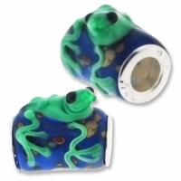 MIOVI� Lampwork Large Hole Beads w/SP Grommets 18x18mm Blue/Green Frog Design (1PC)