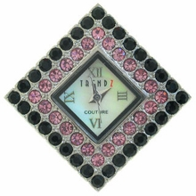 Large Diamond Jet/Rose Austrian Crystal Watch Face