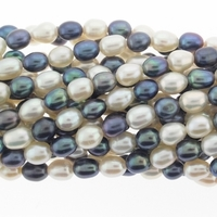 White & Peacock Rice Freshwater Pearl 5-7mm Bead Strand