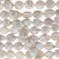 White Coin Freshwater Pearl Strand 10mm Bead Strand