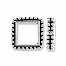 Antique Silver 6mm Beaded Square Frame