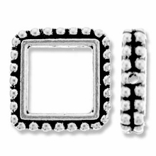 Antique Silver 8mm Beaded Square Frame