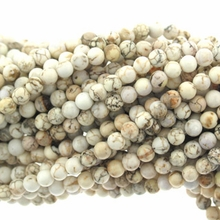 White Turquoise 4mm Round Beads 16 inch Strand