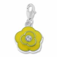 Silver Plated Yellow Enamel Crystal Flower Charm (1PC)