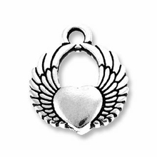 Antique Silver Winged Heart Charm