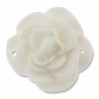 White Rose Flower 32mm Synthetic  Link (5PK)